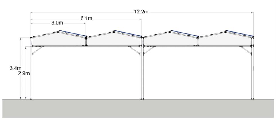 Απεικόνιση τοποθέτησης φωτοβολταϊκών πλαισίων στην οροφή του θερμοκηπίου